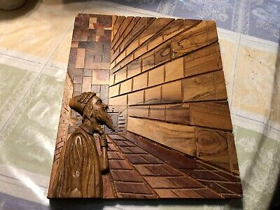 """RARE 16"""" x 12"""" 1950's-60's OLIVE WOOD  3-D HAND CARVED WAILING WALL, ISRAEL READ"""