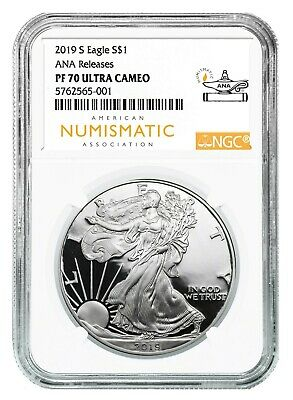 2019 S Silver Eagle Proof NGC PF70 Ultra Cameo - Chicago ANA Releases