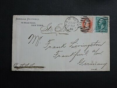1883 US 3c+2c STEAMER ELBE SHIP SUNK WRECK 1895 ! COVER > GERMANY ! +SS SERVIA !