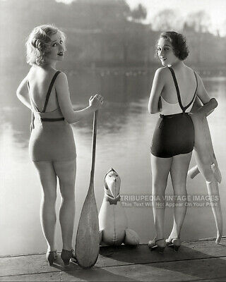 1930s Vintage 8x10 Photo - Two GORGEOUS BATHING BEAUTIES at the Lake - SWIMSUITS