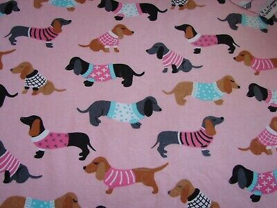 Flannelette Fitted Multi-Coloured Dachsunds Pink Cot Sheet Handmade