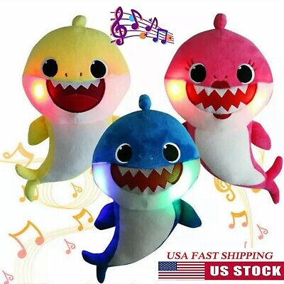 Baby Shark Plush Singing Toy Led Light English Song Cute Doll Gift Kids Family