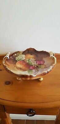 Vintage Hand Painted Compote Porcelain Bowl with Gilded Handles & Feet FREE POST