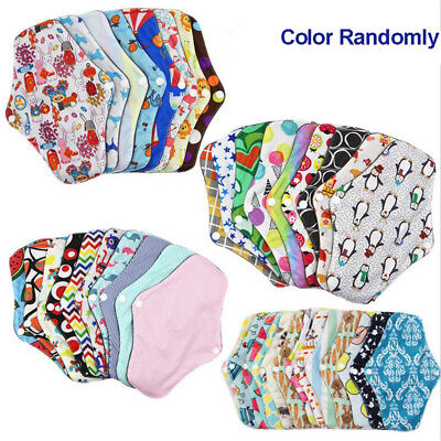 Women Menstrual Pads Reusable Panty Liners Sanitary Bamboo Washable Cloth AX