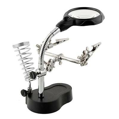 Helping Hand Led Clip Soldering Magnifying Stand Magnifier Iron Lens Glass TH