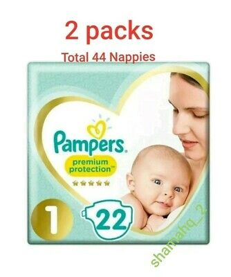 Pampers Premium Protection Baby Dry Nappy Nappies Size1   2-5 kg  22 nappies