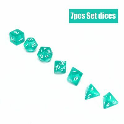 Lots 7 Piece Translucent Polyhedral Set Cloud Drop Teal RPG DnD With Dice Bag CA
