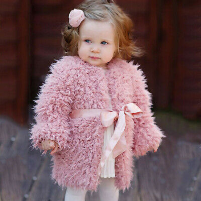 Toddler Kids Baby Girl Winter Fleece Faux Fur Warm Cardigan Coat Outwear Tops UK