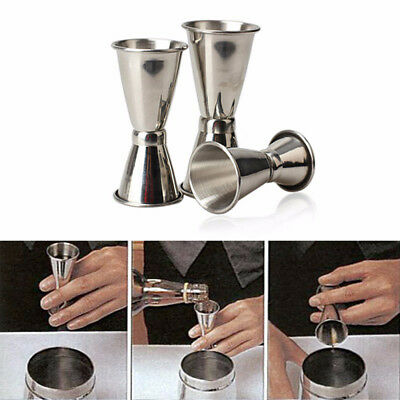 Jigger Single Double Shot Cocktail Shaker Wine Short Measure Cup Drink Bar ToSC