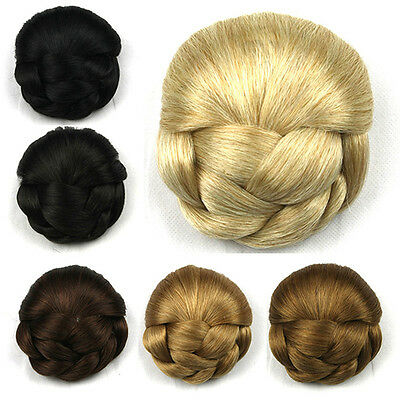 Womens Lady Chignon Synthetic Updo Hairpiece Clip-In Hair Bun ExtensSC