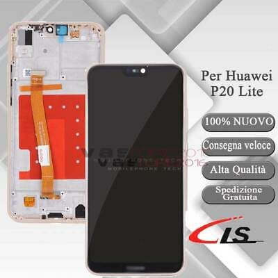Lcd Display Per Huawei P20 Lite Ane-Lx1 Touch Screen Schermo Vetro Rosa + Frame