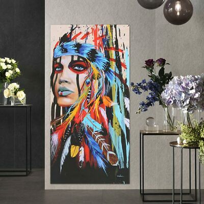 Indian Woman Modern Art Canvas Oil Painting Picture Print Home Wall Decor 4 Size