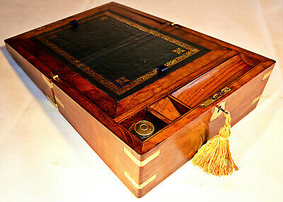Victorian Walnut Writing Slope with Secret Drawers,Inkwell & Key, circa 1860
