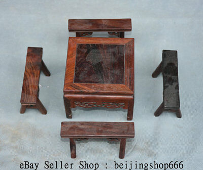 "4"" Old China Huanghuali Wood Dynasty Table 4 Bench Chair Classical Furniture Set"