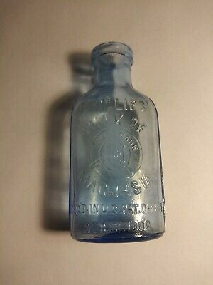 Antique Bottle Early Phillips Milk of Magnesia Blue Glass 1906 date Very Nice