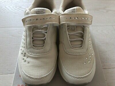 SCARPE GEOX BAMBINA Bianche +Strass Stupende 32 Usate 1