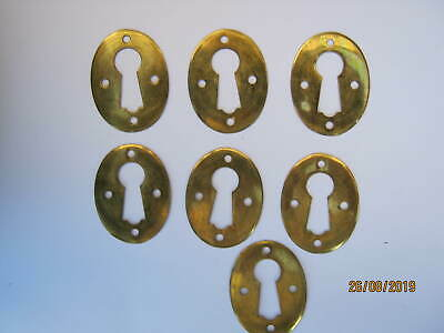 Free Post 7. Antique Brass Keyhole Escutcheons, Doors, Hardware, Old Free Post