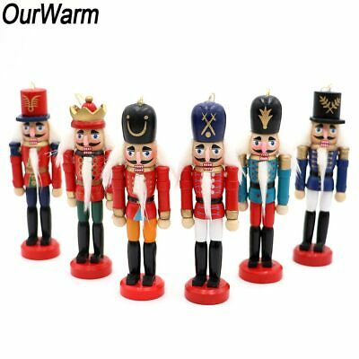 6Pcs Wooden Nutcracker Doll Soldier Mini Figurines New Year Christmas Ornaments