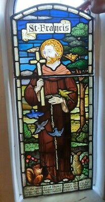 Antique Hand Painted Window Stained leaded Glass Bird saint francis of Assisi