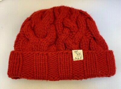 Abercrombie & Fitch Ski Cap Cuff Hat Lambs Wool Cashmere Red Cable Knit Vintage