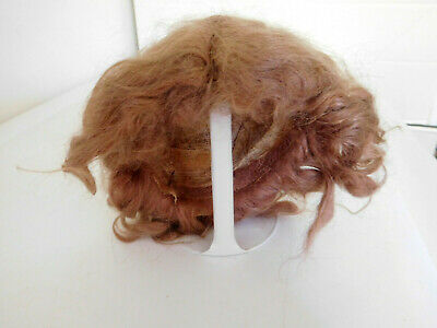 """Antique Mohair Doll Wig Light Brown For 10"""" Circumference Doll Head"""
