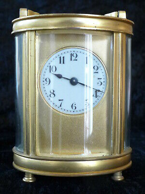 Unusual Oval Shaped French Vintage Gilded Brass Carriage Clock In Working Order