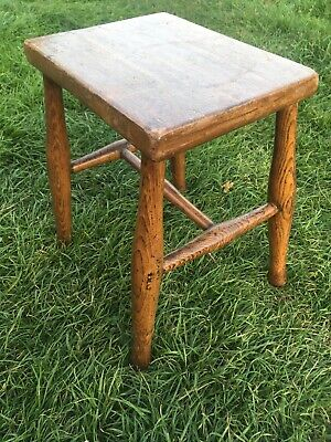 Antique Victorian Solid Country Elm Stool 41cms Tall