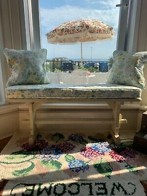 Antique window seat   / kitchen  bench with custom made cushions