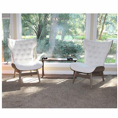 Mid Century Modern Chairs Baja Tufted Fabric and Natural Wood Sold as Pair