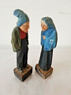 2 X Small Black Forest Wood Carved Figures Vintage Antique German Folk Art