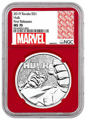 2019 Tuvalu Hulk 1 oz Silver Marvel Series $1 Coin NGC MS70 FR Red Core SKU59127
