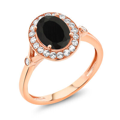 2.36 Ct Oval Black Onyx White Created Sapphire 10K Rose Gold Ring