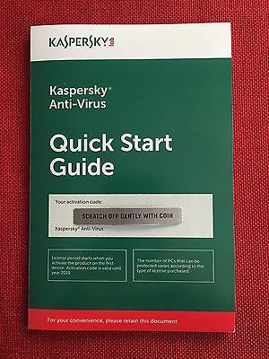 Kaspersky Antivirus Anti-Virus 2019 (2020) 1 PC FREE Ship (Exp. Date: 8/23/2020)