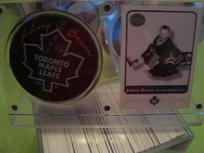 Johnny Bower Autograph Toronto Maple Leafs Puck, Stand, Card Hall Of Fame 1976