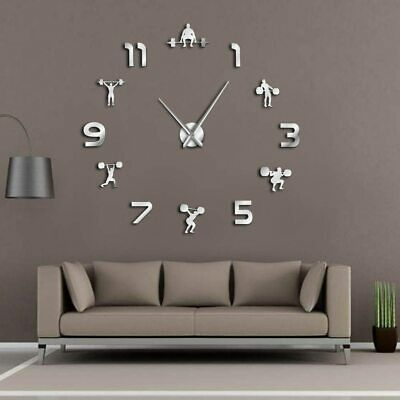 Weightlifting Fitness Room GYM Home Decor DIY Giant Clock Stick On The Wall 2019