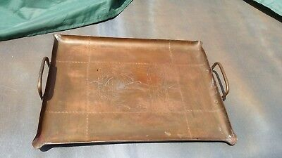 Antique Arts & Crafts ETCHED & HAMMERED COPPER TRAY Stickley Era PALM TREE