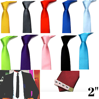 """SKINNY NECK TIE Solid Casual Plain Slim Suit 2""""  Wedding Party Free Shipping NEW"""