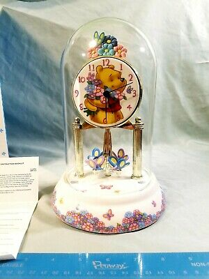 Disney Winnie The Pooh Anniversary Clock Glass Dome Porcelain Base & Dial