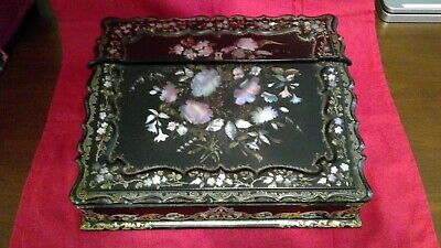 Beautiful Antique Black Lacquer with Mother-of-Pearl Inlays - writing box