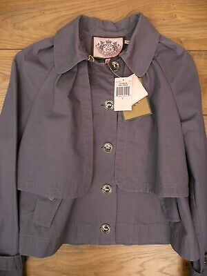NEW Genuine JUICY COUTURE Crop Trench Coat SIZE S SMALL Purple Blue Jacket 6 8
