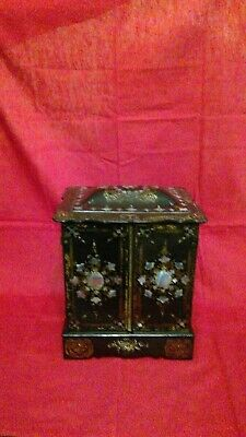 Antique Victorian Black Lacquer Jewelry Box with Mother-of-Pearl Inlays