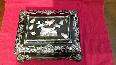 Beautiful Antique Black Lacquer Jewelry Trinket Box with Mother-of-Pearl Inlays