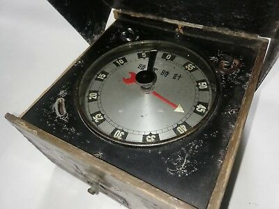 Japan Made Antique Working Wood Cased Brass Mechanical Winding Timer Not Omega