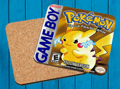 Pokemon Yellow Amarillo Nintendo Game Boy Posavasos Madera Wooden Coasters