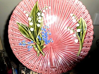 Antique majolica lily of the valley plate