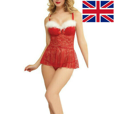 Women Sexy Lace Mesh Christmas Lingerie Set G-String Mini Dress Nightwear