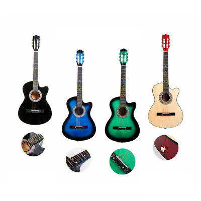 Acoustic Guitar Cutaway Musical Instrument Kit with Case Strap Tuner Pick 38''