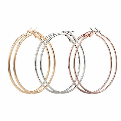 Ladies Silver Gold Tone Frosted Glitz Smooth Big Large Hoop Earrings 4CM 8CM