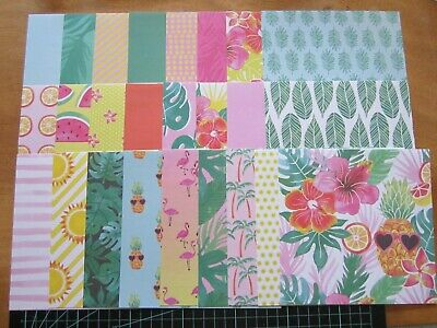 """SCRAPBOOKING PAPERS -6"""" x 6"""" - 25 sheets - TROPICAL CRUSH"""