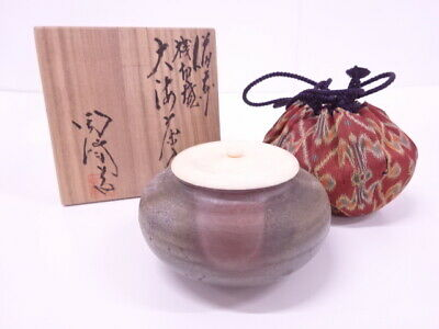 4324991: Japanese Tea Ceremony / Bizen Sangiri Ware Tea Caddy By Toho Kimura